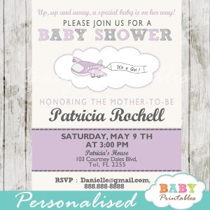 printable purple airplane theme baby shower invitation for girls