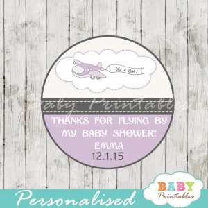 custom purple airplane themed baby shower favor labels
