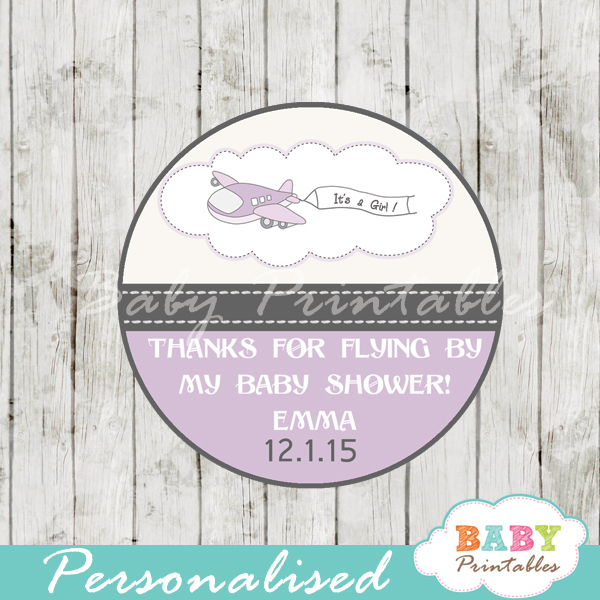 Purple Airplane Baby Shower Favor Tags D165 Baby Printables