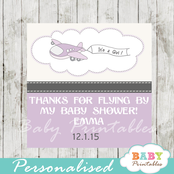 printable custom purple airplane baby shower favor tags