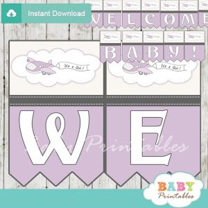printable purple airplane decoration baby shower welcome banner