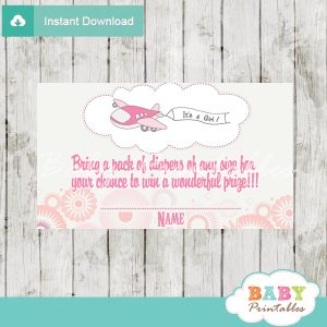 printable pink plane diaper raffle game cards baby shower