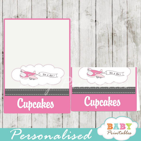 printable pink airplane custom food label cards