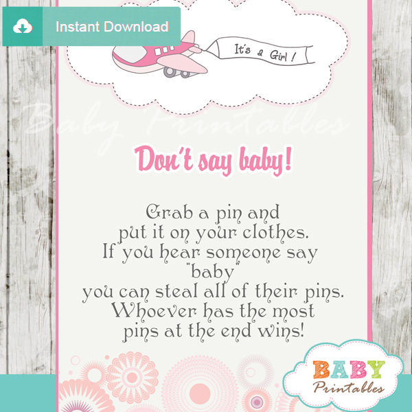 airplane theme Dont Say Baby Game pdf