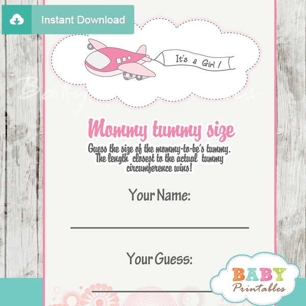 airplane girl printable Baby Shower Game Guess the Mommy's Tummy Size