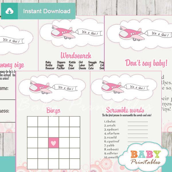 printable pink airplane themed baby shower games package