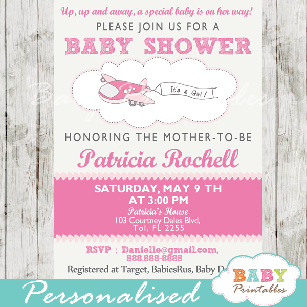 printable pink airplane theme baby shower invitation for girls