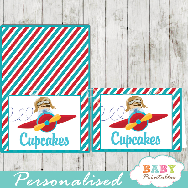 printable little aviator custom food label cards