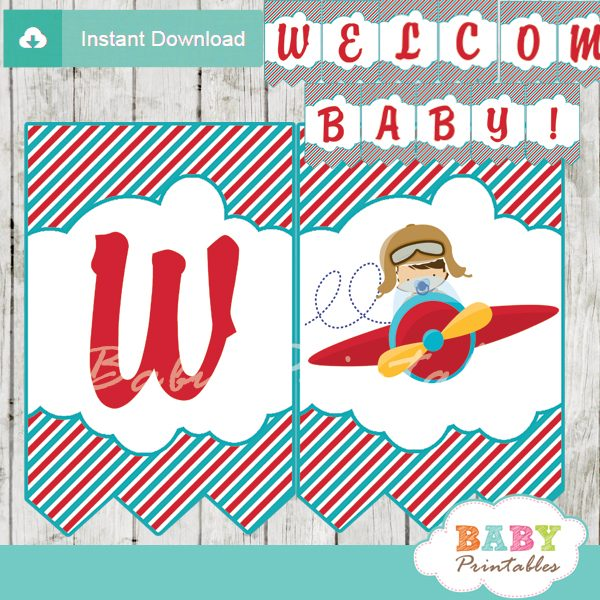 picture relating to Welcome Banner Printable known as Crimson Turquoise Minimal Pilot Boy or girl Shower Banner - D168