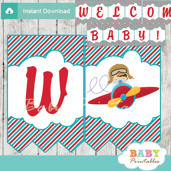 Airplane Birthday Party Get Ready For Takeoff: Red & Turquoise Little Pilot Baby Shower Banner
