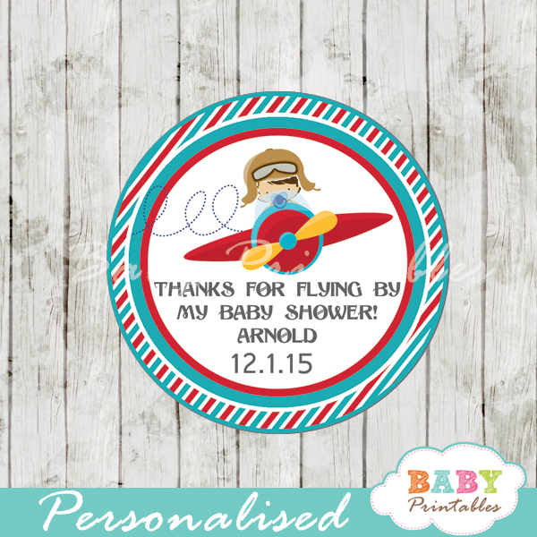 Airplane Birthday Party Favor Tags: Red & Turquoise Little Pilot Baby Shower Favor Tags