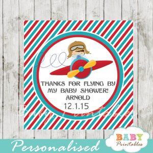 printable custom little aviator baby shower favor tags