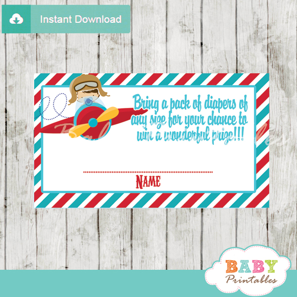 printable little aviator diaper raffle game cards baby shower