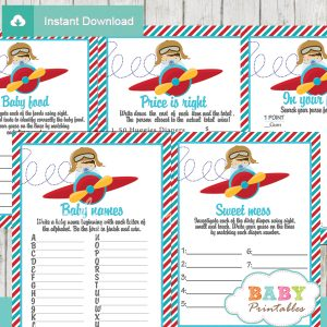 printable little aviator baby boy shower fun games ideas