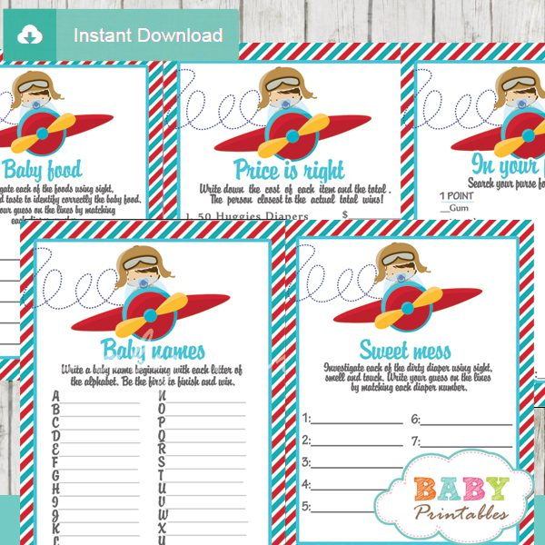 printable little aviator baby boy shower fun games ideas