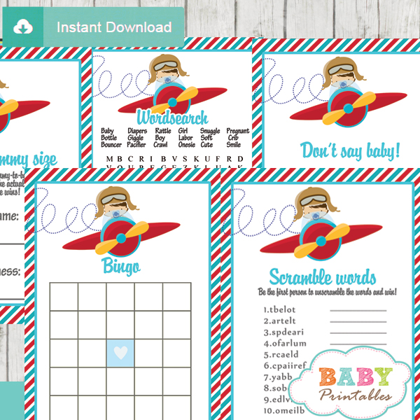 Red & Turquoise Little Pilot Baby Shower Games Bundle ...
