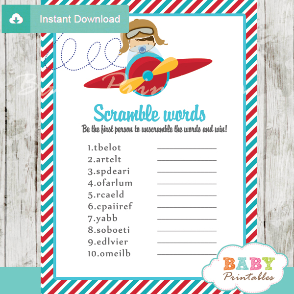 Airplane Birthday Party Get Ready For Takeoff: Red & Turquoise Little Pilot Baby Shower Games