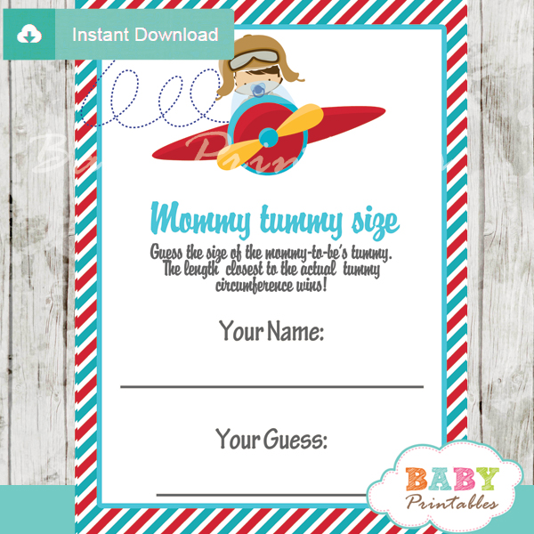 little aviator printable Baby Shower Game Guess the Mommy's Tummy Size