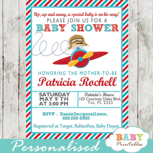 Red turquoise little pilot baby shower invitation boys d168 printable airplane little aviator baby shower invitation for boys filmwisefo