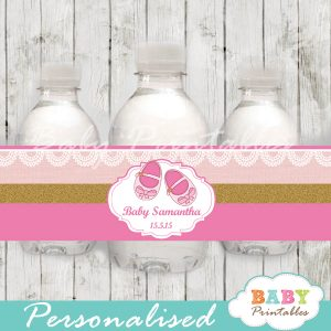 custom pink baby shoes baby shower bottle wrappers diy