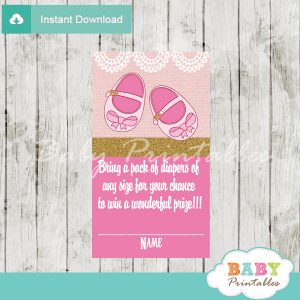 printable girl baby shoes diaper raffle game cards baby shower