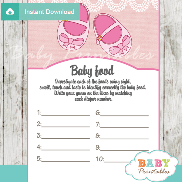pink baby shoes baby shower games bundle d170 baby printables