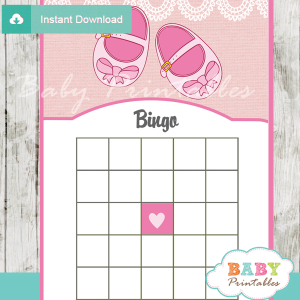 girl baby shoes themed baby shower bingo games cards