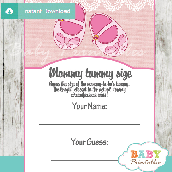 Baby girl shoes printable baby shower game guess the mommy s tummy