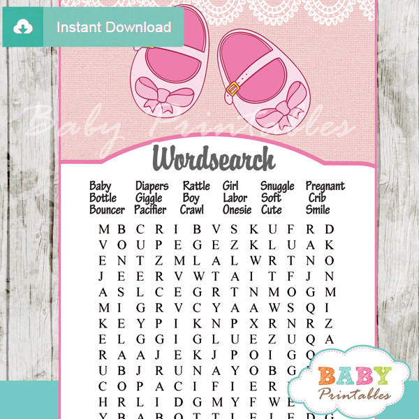 Pink Baby Shoes Baby Shower Games - D170 - Baby Printables