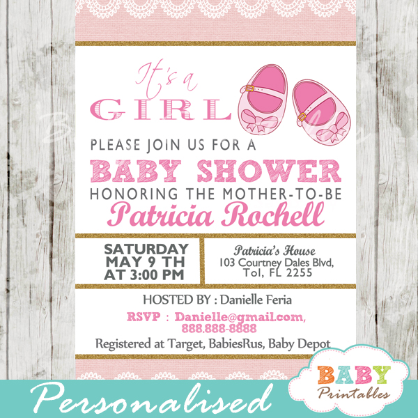 printable pink baby shoes baby shower invitation for girls