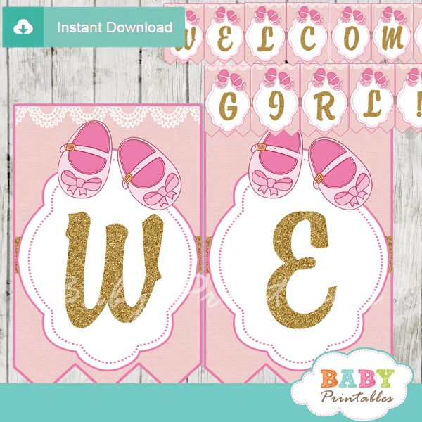 image relating to Welcome Banner Printable named Purple Boy or girl Footwear Child Shower Banner - D170
