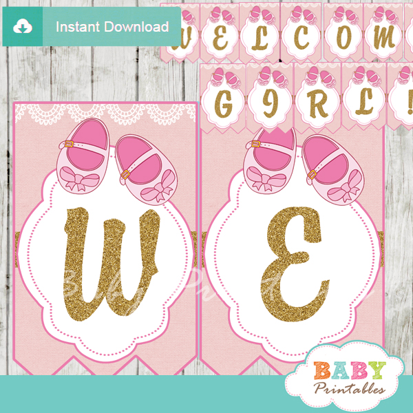 Baby Shower Custom Banners: Pink Baby Shoes Baby Shower Banner