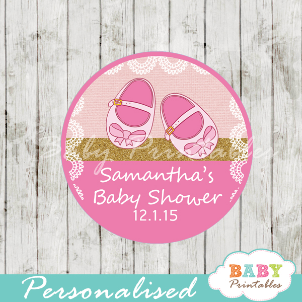 custom baby shoes girl themed baby shower favor labels