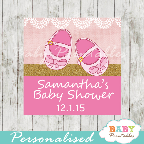 0ed16c572585b Pink Baby Shoes Baby Shower Square Labels - D170