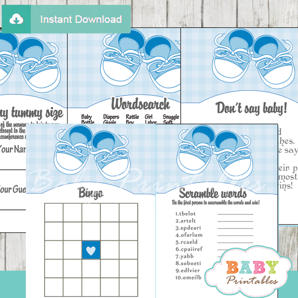 printable blue baby shoes themed baby shower games package