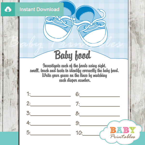 Blue Baby Shoes Baby Shower Games - D171 - Baby Printables