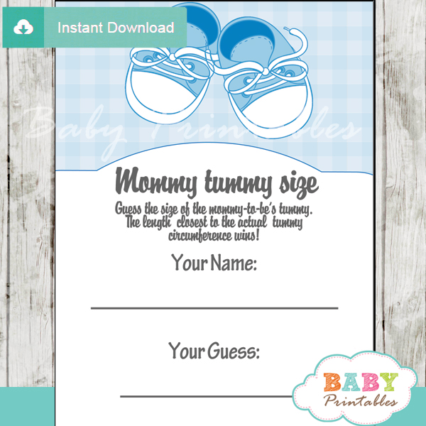 baby boy shoes printable Baby Shower Game Guess the Mommy's Tummy Size