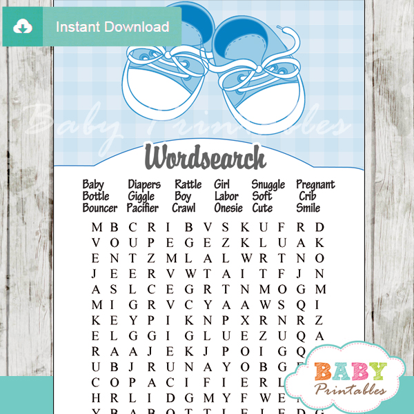 Blue Baby Shoes Baby Shower Games D171 Baby Printables