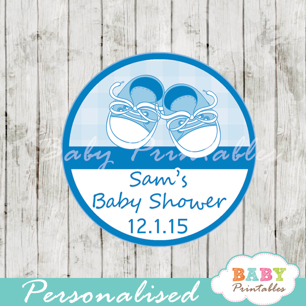 Blue Baby Shoes Baby Shower Favor Tags D171 Baby Printables