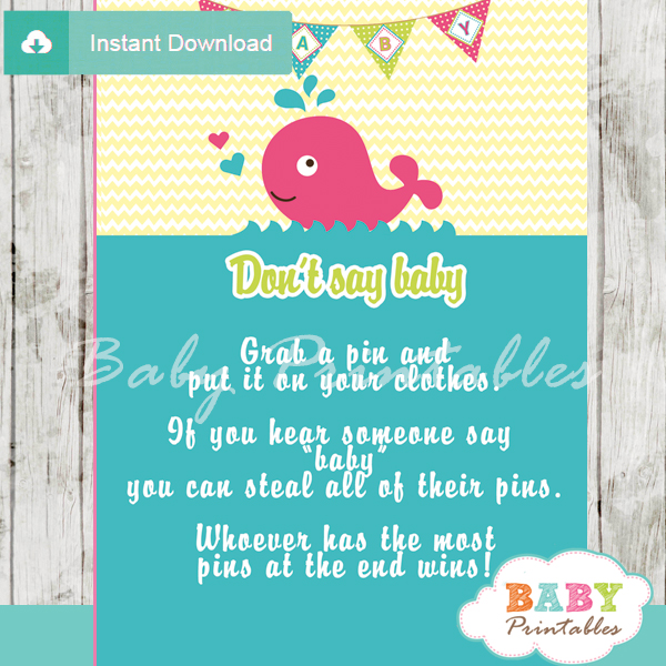 cute pink whale Dont Say Baby Game pdf