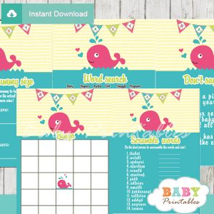 printable pink whale themed baby shower games package