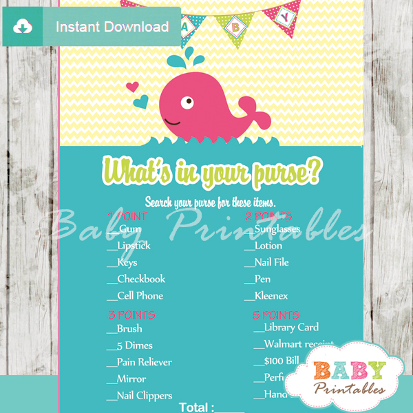 pink whale themed printable baby shower games what's in your purse