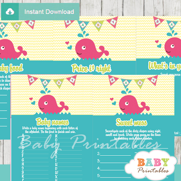 printable pink whale baby shower fun games ideas