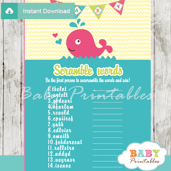 pink whale printable word scramble baby shower games