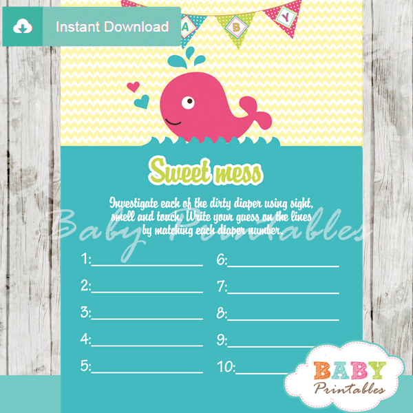 pink whale themed Baby Shower Game What's That Sweet Mess Dirty Diaper Shower Game
