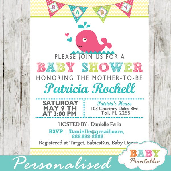 printable cute pink whale baby shower invitation for girls