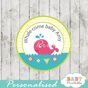 custom cute pink whale baby shower favor labels