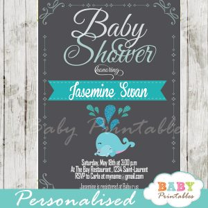 printable cute blue whale baby shower invitations for boys