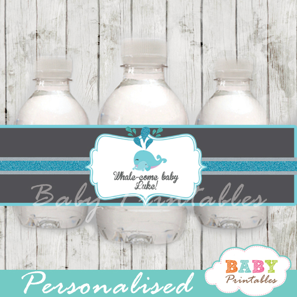 custom blue whale baby shower bottle wrappers diy