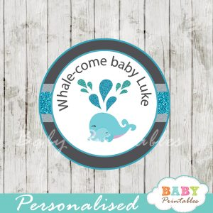 custom cute blue whale baby shower favor labels